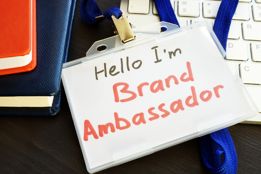 brand ambassador. Corporate name tag that reads hello I am Brand Ambassador